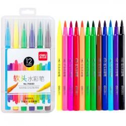 Deli Soft Head Watercolor Pen Children Painting Pen Set-Washing 12 Color