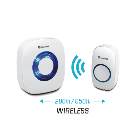 Hopewell 200m EXTRA Battery Operated Wireless Doorbell | Twin Pack